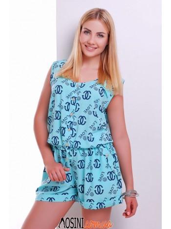 Нежно голубой комбинезон с рисунком chanel и сердечками  - 0333-4