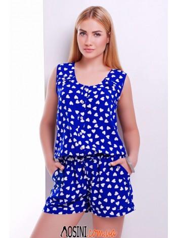 Синий комбинезон с белыми сердечками - 0333-2